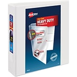 Avery Heavy-Duty View Binder, 2 One Touch Rings, 540 Sheet Capacity, DuraHinge, White (79192)