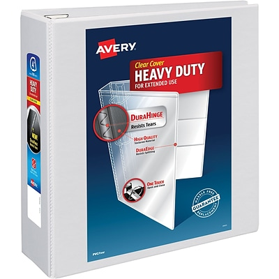 Avery Heavy-Duty View Binder, 4 One Touch Rings, 780 Sheet Capacity, DuraHinge, White (79104)