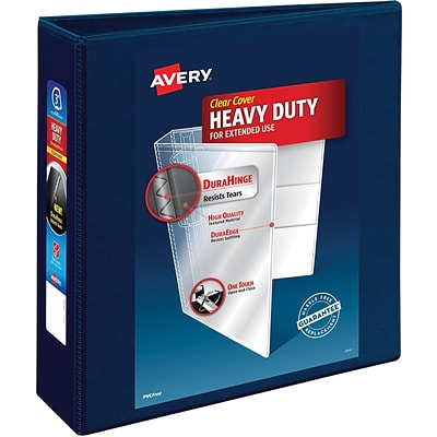 Avery Heavy-Duty View Binder, 3 One Touch Rings, 670 Sheet Capacity, DuraHinge, Navy Blue (79803)