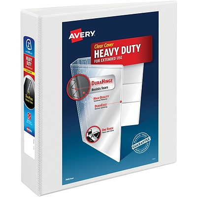 Avery Heavy-Duty Nonstick View Binder, 2 One Touch Slant Rings, 500 Sheet Capacity, DuraHinge, White (05504)