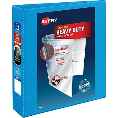 Avery Heavy-Duty Nonstick View Binder, 2 One Touch Slant Rings, 500 Sheet Capacity, DuraHinge, Lt. Blue (05501)