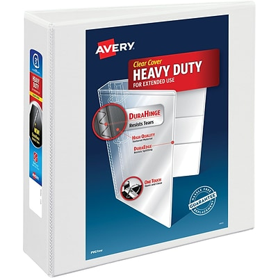 Avery Heavy-Duty Nonstick View Binder, 3 One Touch Slant Rings, 600 Sheet Capacity, DuraHinge, White (05604)