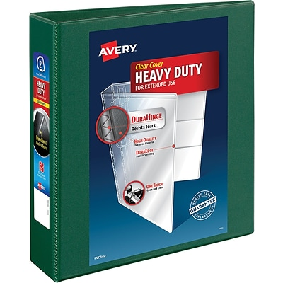 Avery Heavy-Duty View Binder, 2 One Touch Rings, 540 Sheet Capacity, DuraHinge, Green (79683)