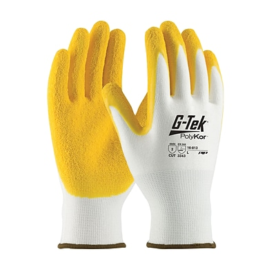 G-Tek® PolyKor™ Blend Gloves, Yellow Latex Crinkle Coating, EN3 Cut Level 2, XL