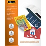 Fellowes EasyMove Adhesive Thermal Laminating Pouches, Letter, 3mil, 25 Pack