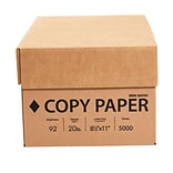 White Box Copy Paper, 8-1/2 x 11, 92 Bright, 20 LB, 10 Reams of 500 Sheets