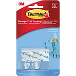 Command™ Small Hooks, Clear, 2/Pack (17092CLR)