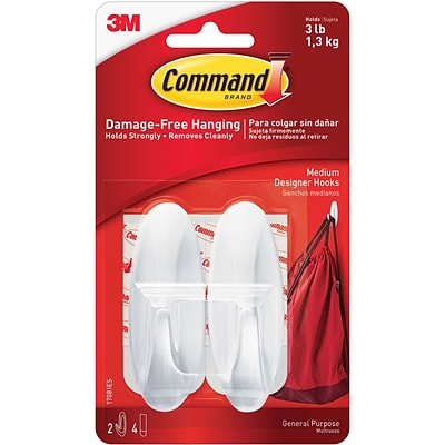 Command™ Medium Designer Hooks, White, 2/Pack (17081ES)