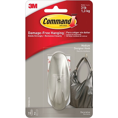Command™ Medium Designer Hook, Brushed Nickel, Each (17081BN-ES)