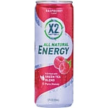 X2 All Natural Energy Drink, Raspberry, 12 oz. Cans, 12/Pack