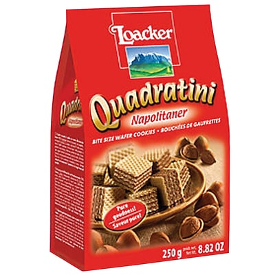 Loacker Quadratini Hazelnut Wafer Cookies, 8.82 Oz., 8/CT