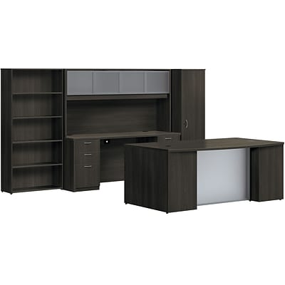 basyx by HON BL Series Office Suite with Personal Wardrobe Desking, Espresso, 66.0H x122.0W x102.0H