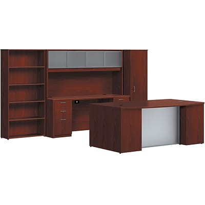 basyx by HON BL Series Office Suite with Personal Wardrobe Desking, Mahogany, 66.0H x122.0W x102.0H