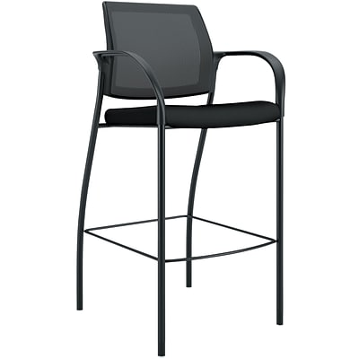 HON Ignition ilira-Stretch Mesh/Fabric Cafe-Height 4-Leg Stool, Fixed Arms, Black NEXTExpress NEXT2019