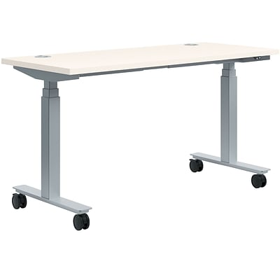HON 60W x 24D Rectangle Adjustable Height Table, Brilliant White (HONHAT2460CASW)