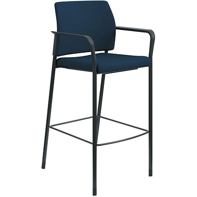 HON Accommodate Cafe Stool, Fixed Arms, Navy Fabric, Textured Black Frame NEXT2018 NEXTExpress
