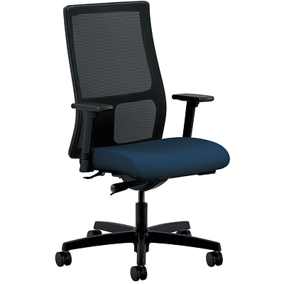 HON Ignition ilira-Stretch Mesh/Fabric Mid-Back Task Chair, Height- and Width-Adjustable Arms,  Black/Navy NEXT2018 NEXTExpress