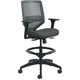HON Solve Mid-Back Task Stool, Charcoal ReActiv Back, Adjustable Lumbar, Black Frame,  Ink Seat Fabr