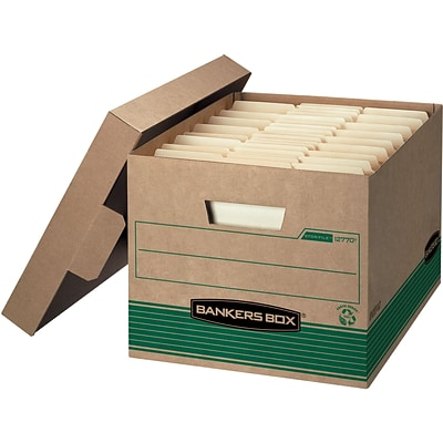 Bankers Box Stor/File Medium-Duty FastFold File Storage Boxes, Lift-Off Lid, Letter/Legal Size, Brown, 20/PK (1277008)