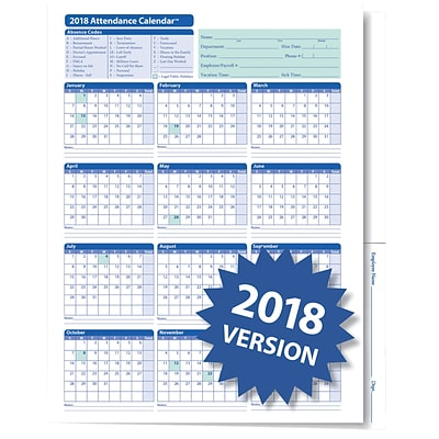 ComplyRight™ 2018 Attendance Calendar Folder, White, Pack of 25