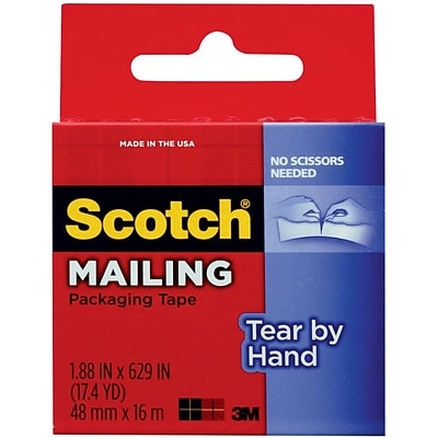3M Scotch® Tear-By-Hand Packaging Tape, 48MM x 16M, Clear