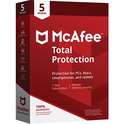 McAfee® Total Protection for 5 Devices (1-5 Users), Boxed (MTP00EST5RAA)