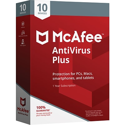McAfee® AntiVirus Plus for 10 Devices (1-10 Users), Boxed (MAV00ESTXRAA)