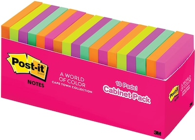 "Post-it® Notes, 3"" x 3"", Cape Town Collection, 18 Pads/ Cabinet Pack (654-18CTCP)"