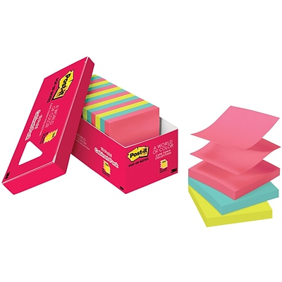 Post-it® Pop-up Notes, 3 x 3, Cape Town Collection, 18 Pads/Cabinet Pack (R330-18CTCP)