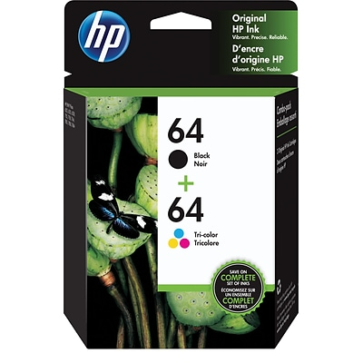 HP 64 Tri-color & Black Original Ink, 2/Pack