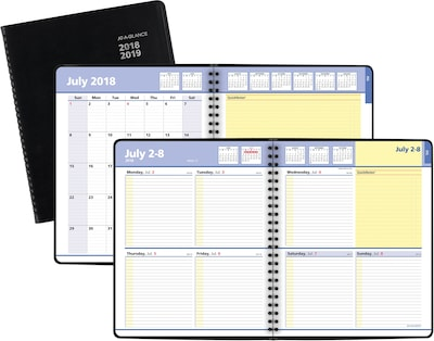 "2018-2019 AT-A-GLANCE® 8"" x 9 7/8"" QuickNotes® Academic Weekly/Monthly Planner, 13 Months, Black, 8"" x 9-7/8"" (76-11-05-19)"