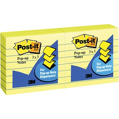 Post-it® Pop-up Notes, 3 x 3, Lined, Canary Yellow, 6 Pads/Pack (R335)