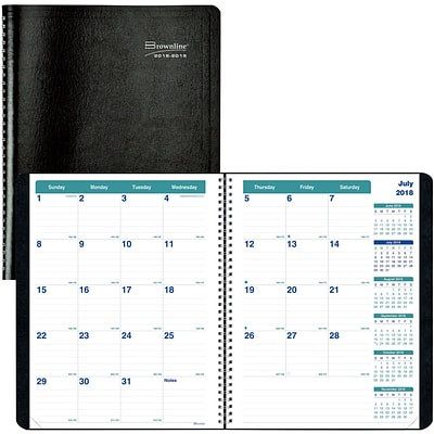 2018-2019 Brownline® Monthly Academic Planner, Black, 14 Months, 11 x 8-1/2 (CA701.BLK-19)