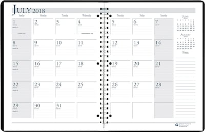 "2018-2019 House of Doolittle Academic Monthly Planner, Black, 8-1/2"" x 11"" (HOD-26302-AY19)"