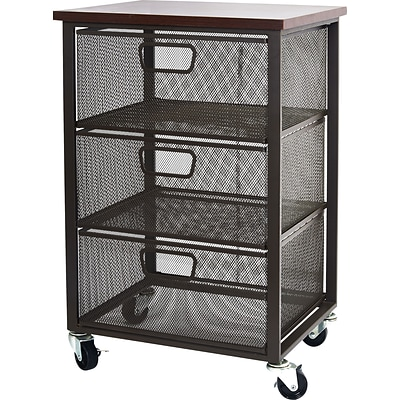 Easy 2 Go Wood top storage unit with 3 meshed metal drawers