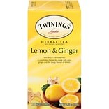 Twinings® Lemon & Ginger Herbal Tea Bags, 25/Box