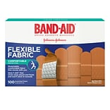 BAND-AID Brand Flexible Fabric Adhesive Bandages, Assorted Sizes, 100 Count/Box (Model:115078)