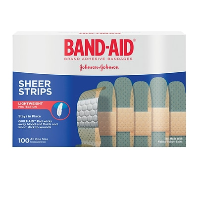 BAND-AID Brand Sheer Strips Adhesive Bandages, 3/4 x 3, 100 Count/Box (Model: 4634)