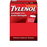 TYLENOL Pain Relief Extra Strength Caplets, 500 mg, 50 Count/Box, Pack of 2 (044910)
