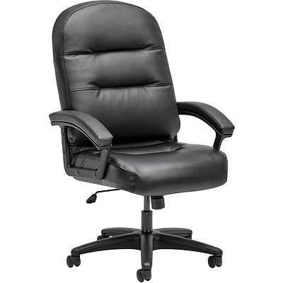 HON Leather Executive Chair, Fixed Arms, Black (HON2095HPWST11T)