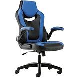 HON Sadie Leather Racing-Style Gaming Chair, Flip-Up Arms, Blue/Black (BSXVST913)