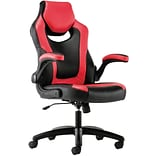 HON Sadie Leather Racing Style Gaming Chair, Flip-Up Arms, Red/Black (BSXVST912)