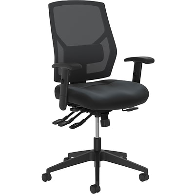 HON Crio Leather/Mesh Task Chair, Adjustable Arms, Black (BSXVL582SB11T)