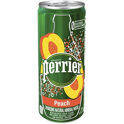 Perrier Sparkling Natural Mineral Water, Peach, 8.45oz. Slim Can, 10/PK