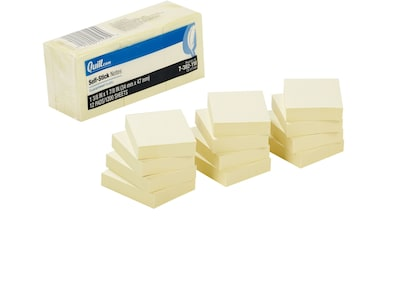 "Quill Brand® Self-Stick Sticky Flat Notes; 1-1/2"" x 2"", Yellow, 12 Pack"