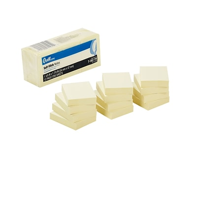 Quill Brand® Self-Stick Sticky Flat Notes; 1-1/2 x 2, Yellow, 12 Pack
