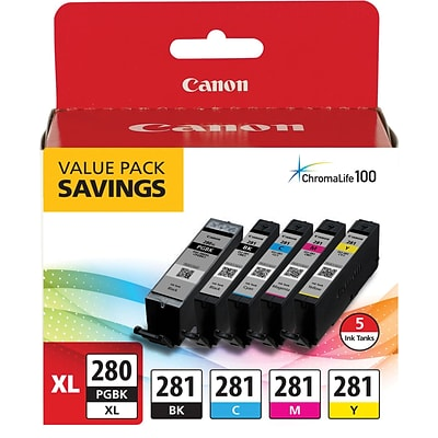 Canon PGI 280XL Black High Yield/ CLI-281 Color Standard Multi-pack (5 cart per pack) (2021C007)