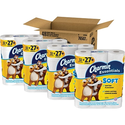 Charmin Essentials Soft 2-Ply Toilet Paper, White, 200 Sheets/Roll, 48 Giant Rolls/Carton (76507)