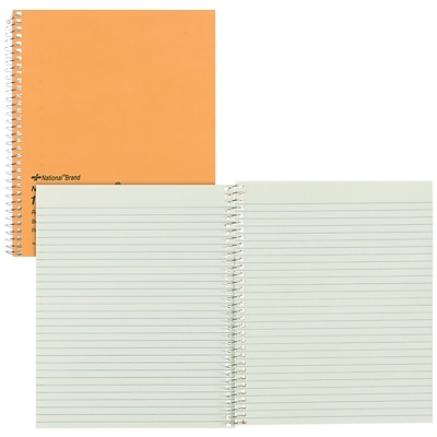 National® Wirebound 1-Subject Green Tint Notebook, 8 1/4 x 6 7/8, Narrow Rule, 80 Sheets (33004)