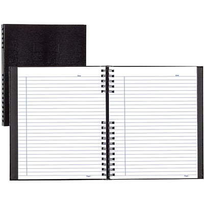 BlueLine® NotePro®NotePro Business Notebook, Black Hard Lizard Look Cover, Twin-Wire binding, 300 Pages/150 Sheets, 11x8-1/2